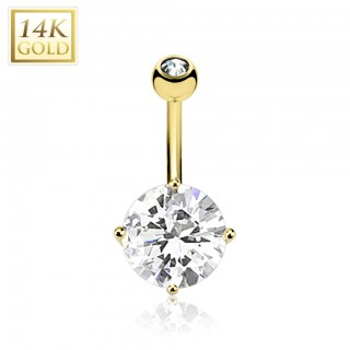 Belly button ring of yellow gold with diamond