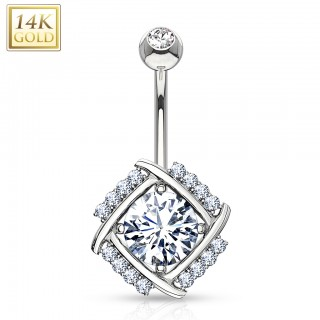 14 Kt. white gold belly button piercing with diamond cut crystal in windmill