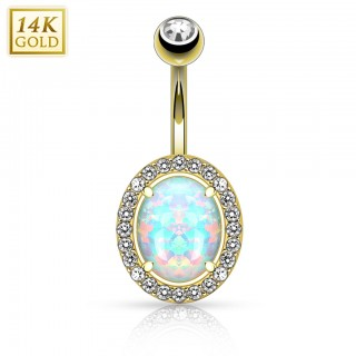 14 Kt. gold belly button piercing with big opal and clear crystals
