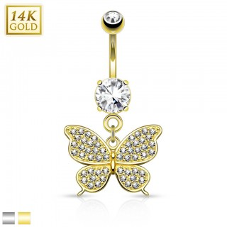 14 Kt. gold belly ring with bejeweled butterfly