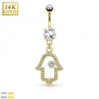 14 Kt. gold belly piercing with luxurious Hamsa hanger