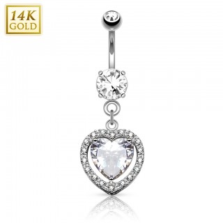 Solid gold belly piercing with heart shaped crystal - White gold
