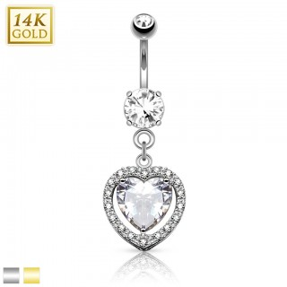 Solid gold belly bar with crystalised heart