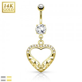 Solid gold belly piercing with heart shaped dangle