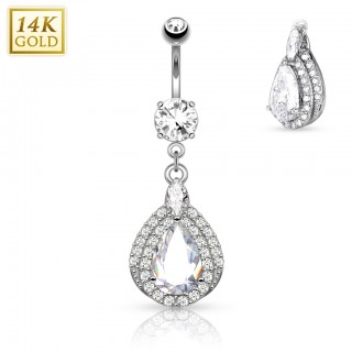 Solid gold belly piercing with Tear Drop dangle - White gold
