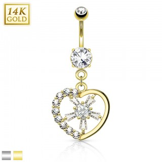 Solid gold belly piercing with heart and crystal centre