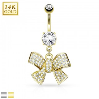 Solid gold belly bar with big bow tie