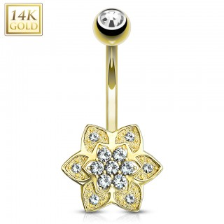 Belly ring of 14 kt. gold with petal flower and clear crystals