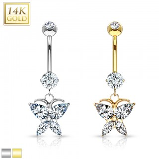 14 Kt. gold belly bar with marquise butterfly