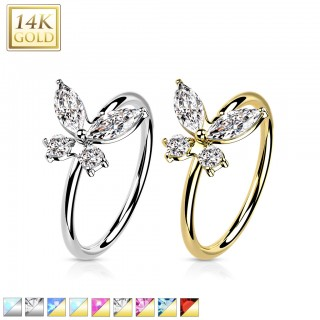 14 Kt. gold nose ring with clear crystal end