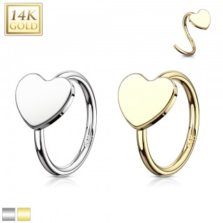 14 Kt. gold nose ring with heart