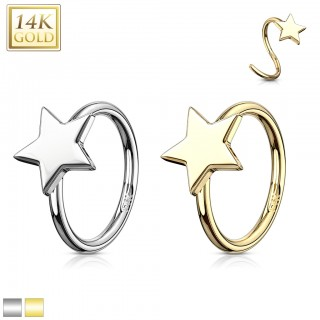 14 Kt. gold cartilage ring topped with star