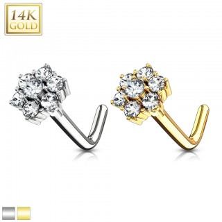 14 kt. gold nose stud with cluster crystal flower