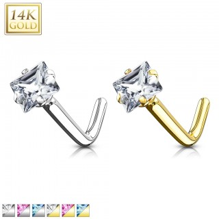 Solid gold nose stud with coloured square crystal