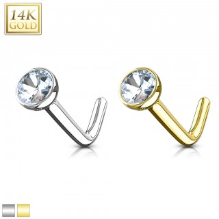 Solid gold nose piercing with Bezel crystal