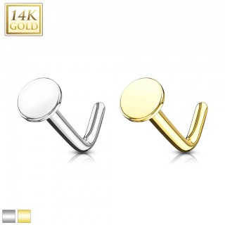 Solid 14 kt. gold nose stud with flat disc top