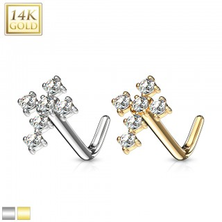 14 kt. gold nose stud with crystal cross top