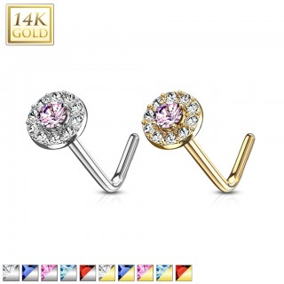 14 kt. gold nose stud with double layer of crystals