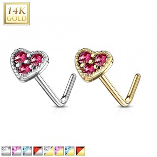 Nose stud of 14 kt. gold with coloured crystals in heart top