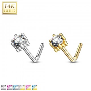 14 kt. nose stud with squared top and round coloured jewel