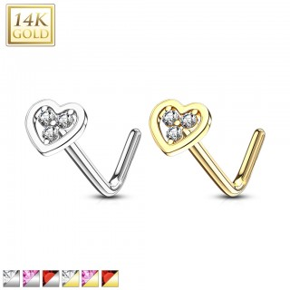 14 kt. nose stud with coloured jewel heart top
