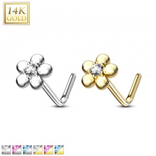 14 kt. nose stud with petal flower top and coloured jewel