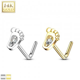 14 kt. gold L-bend nose stud with baby foot