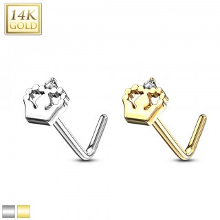 14 kt. gold nose stud with crown and clear crystal