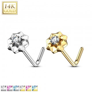 14 kt. nose stud with coloured gem star