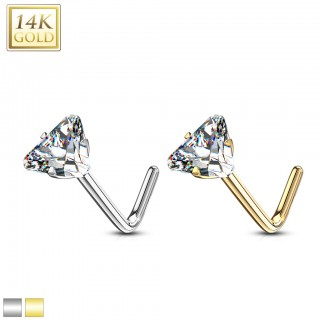 Solid 14 kt. nose stud with coloured gem star – Yellow Gold - Clear