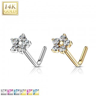 14 Kt. gold nose stud piercing with crystal floral top