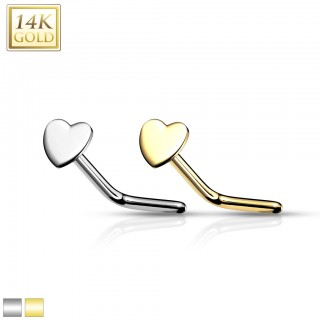 14 Kt. gold nose stud with heart top