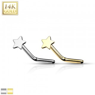 14 Kt. gold nose stud with star top