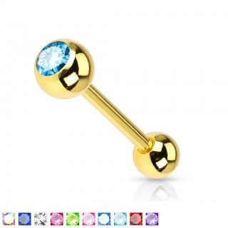 Gold barbell with coloured stone