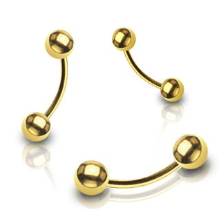 Gold plated curved barbell with balls