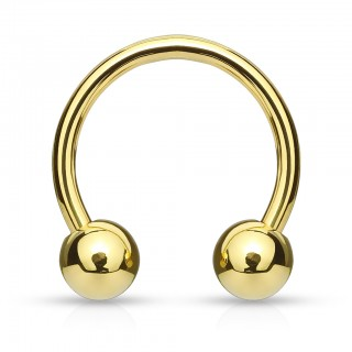 Gold plated circular barbell with balls