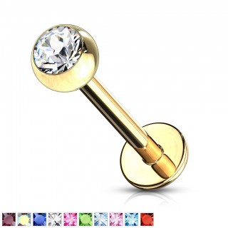 Gold labret stud with gem ball