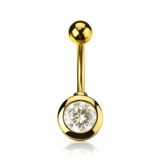 Gold belly ring with round diamond