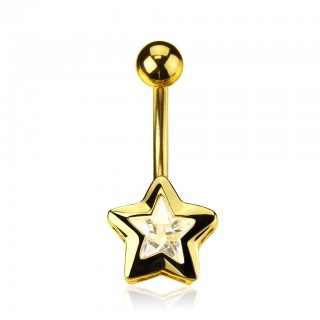 Gold plated belly ring with crystal star
