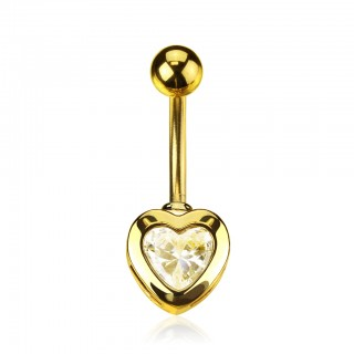 Golden belly ring with clear heart gemstone