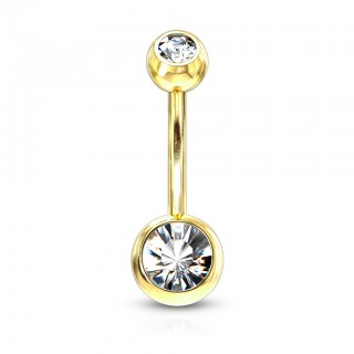 Gold belly piercing with clear crystal and 4 & 6 mm balls