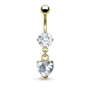 Gold plated belly bar with dangle of clear diamond heart