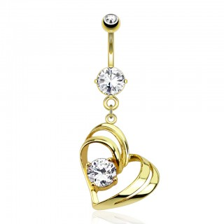 Gold belly bar with clear diamond and double heart