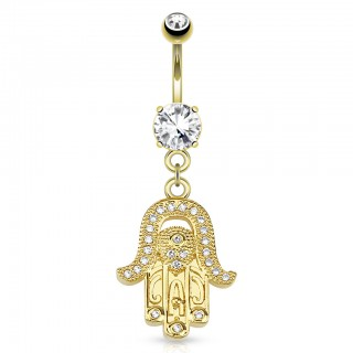 Gold coloured belly bar with dangling hamsa and diamonds