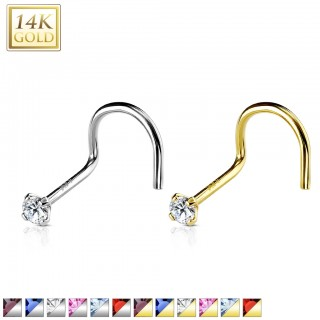 Nose piercing of real gold with prong set diamond