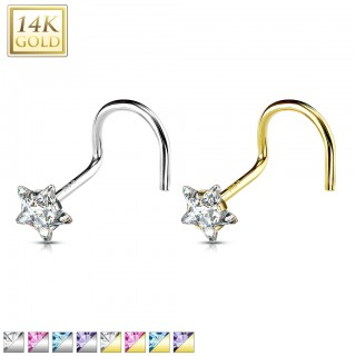 Solid gold nose screw with coloured crystal star