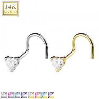 Solid gold nose piercing with crystalised heart