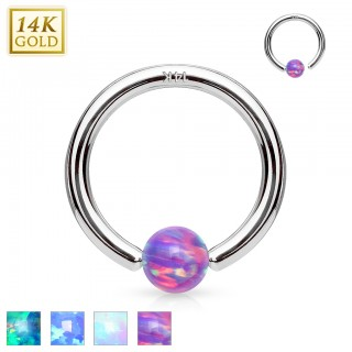 14 Kt. solid white gold ball closure ring with opal ball