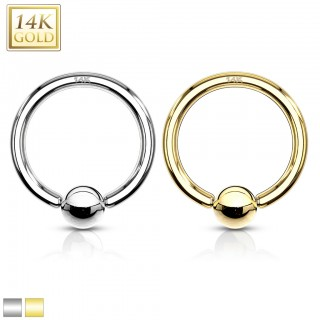 Solid 14 kt. Gold basic ball closure ring