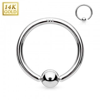 White 14 kt. gold captive bead ring with attached ball